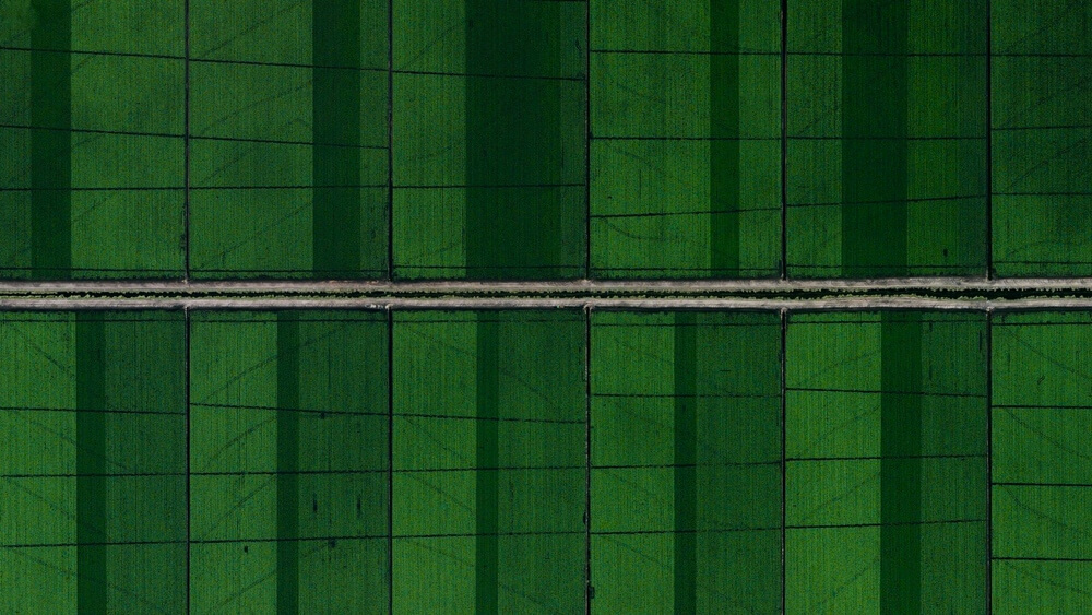 Schotterstraßen führen durch die landwirtschaftliche Entwicklung in Loxahatchee, Florida, USA.