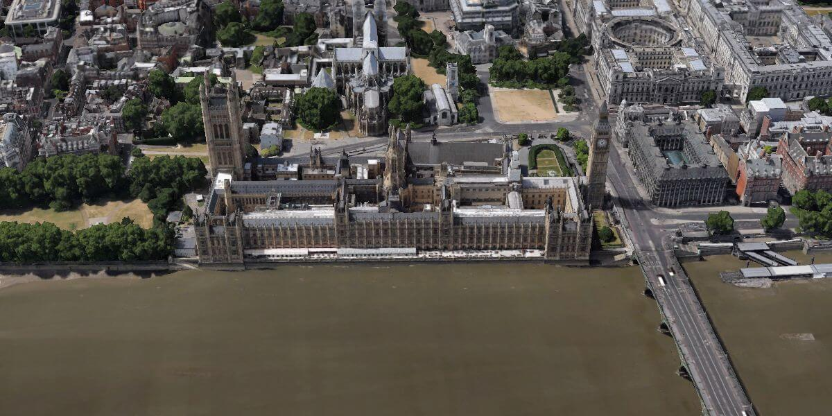 palace of westminster from above