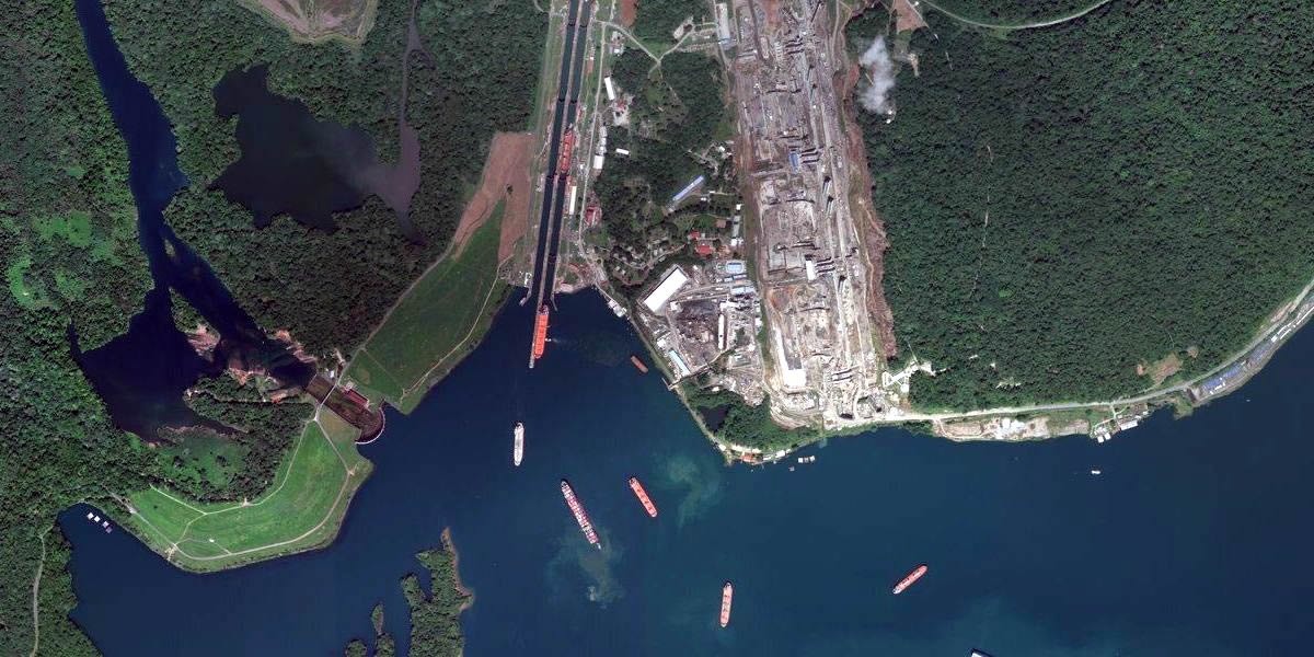 panama canal from space