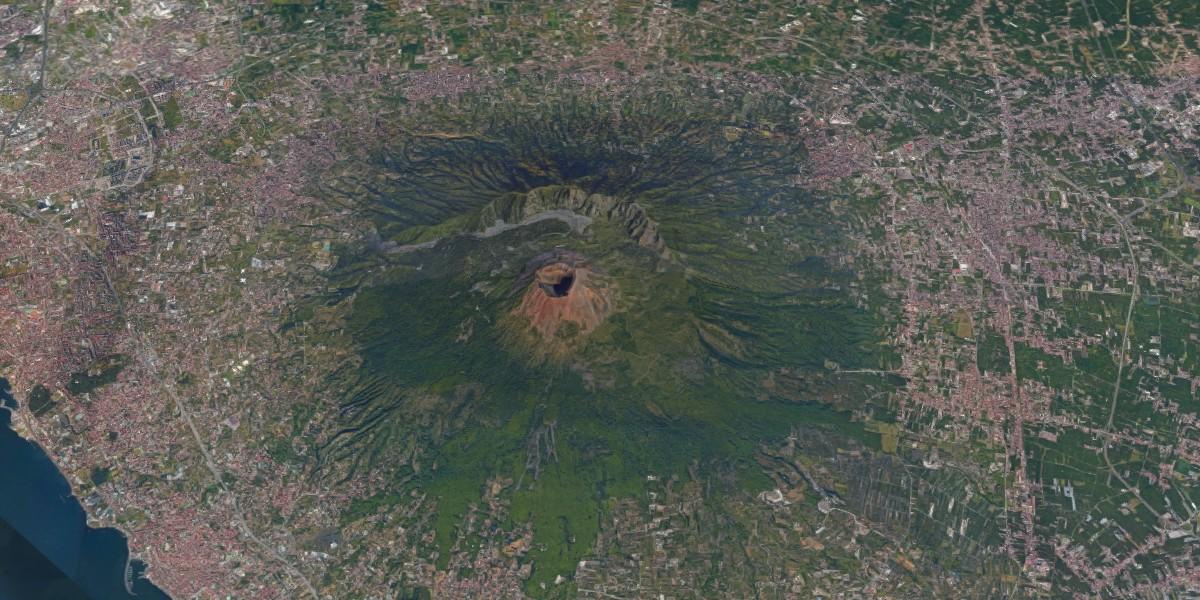 De Vesuvius vanuit de ruimte