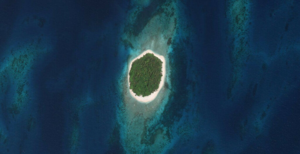 île paradisiaque par satellite
